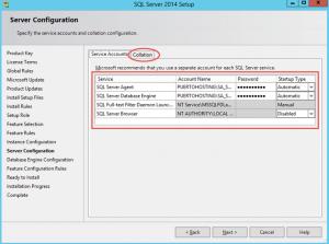 Ilustración 10 – Instalación de SQL Server | Configuración de Usuarios de Servicio para SQL Server: Motor, Agente, Indexador y Browser.