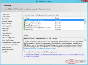 Ilustración 14 – Instalación de SQL Server | Finalización de instalación de SQL Server.