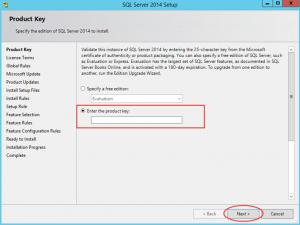 Ilustración 2 – Instalación de SQL Server | Ingreso de Número de Serie.