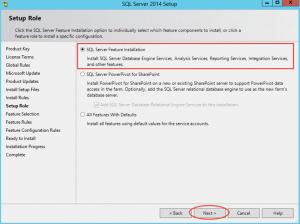 Ilustración 7 – Instalación de SQL Server | Elección de Roles para instalación de SQL Server.