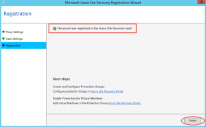 Ilustración 15 – Asistente para instalación del Proveedor de Azure Site Recovery en Hyper-V: finalización de registro del Vault.