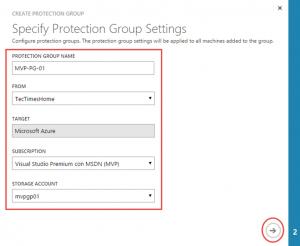 Ilustración 19 – Creación y Configuración de Grupo de Protección en Azure Site Recovery Vault: paso 1 de 2.