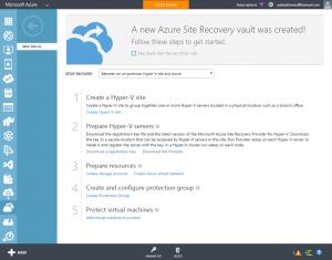 Ilustración 3 – Pasos de configuración y asistencia propuestos en el Azure Site Recovery Vault para configurar entre Hyper-V y Azure.