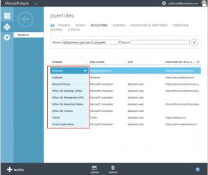 Ilustración 16 – Listado de Aplicaciones publicadas en Azure Active Directory.