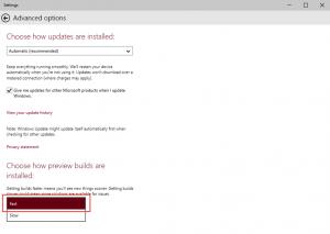 Ilustración 3 – Configuración de Windows Update para recibir los últimos Builds de Windows 10 (Fast Ring).