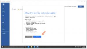 Ilustración 8 – Agregando una cuenta de trabajo a un equipo con Windows 10 personal. Auto-inscripción al MDM Empresarial.