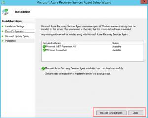 Ilustración 11 – Instalación de Agente de Azure Backup en Windows Server. Finalización de Instalación.