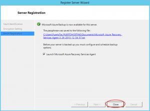 Ilustración 15 – Instalación de Agente de Azure Backup en Windows Server. Finalización de Configuración.
