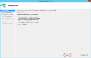 Ilustración 17 – Creación de Tarea de Backup en Azure Backup Agent de Windows Server.