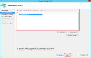 Ilustración 19 – Creación de Tarea de Backup en Azure Backup Agent de Windows Server. Selección de elementos a resguardar.