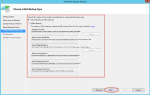 Ilustración 23 – Creación de Tarea de Backup en Azure Backup Agent de Windows Server. Configuración de transferencia inicial.
