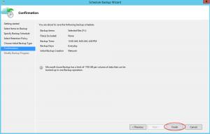 Ilustración 24 – Creación de Tarea de Backup en Azure Backup Agent de Windows Server. Confirmación de Configuración de la tarea.