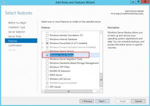 """Ilustración 4 – Instalación de Feature """"Windows Server Backup"""" en Windows Server 2012 R2."""