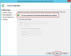 Ilustración 8 – Instalación de Agente de Azure Backup en Windows Server. Configuración de Proxy.