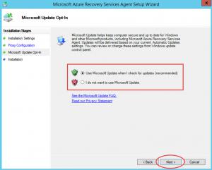 Ilustración 9 – Instalación de Agente de Azure Backup en Windows Server. Configuración de Microsoft Update.