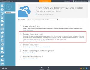 Ilustración 6 – Preparación de servidores Hyper-V en Azure Site Recovery Vault.