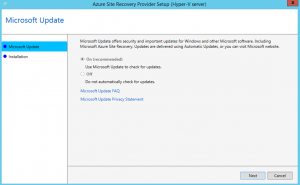 Ilustración 8 – Asistente para instalación del Proveedor de Azure Site Recovery en Hyper-V.