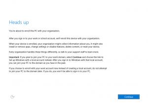 Ilustración 9 – Instalación de Windows 10 Build 10074. OOBE de Windows 10 para Enterprises.