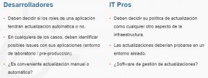 Ilustración 3 – Impacto para Desarrolladores y IT Pros de las políticas de actualización de software en Microsoft Azure.