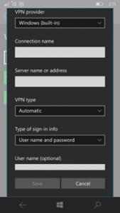 Ilustración 8 - Alta de una nueva conexión de tipo VPN en Windows 10 Mobile.