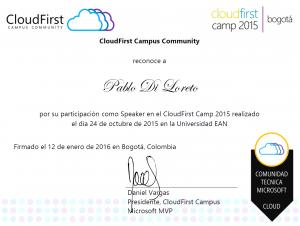 Certificado CFCBOG2015 de participación - Pablo Di Loreto