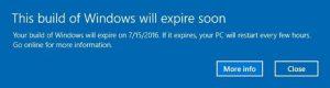 Ilustración 1 – Pantalla que indica que Windows 10 expirará pronto.