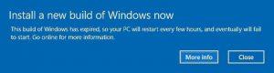 Ilustración 2 – Pantalla que indica que Windows 10 expiró y debe reiniciarse.