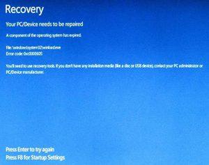 Ilustración 3 – Pantalla que indica que Windows 10 expiró y por ese motivo no inicia (modo recuperación).