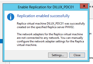 Asistente de replicación inicial de VM en Hyper-V 3.