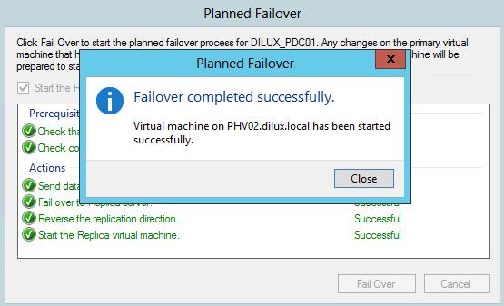 Finalización de Planned Failover en Hyper-V 3.