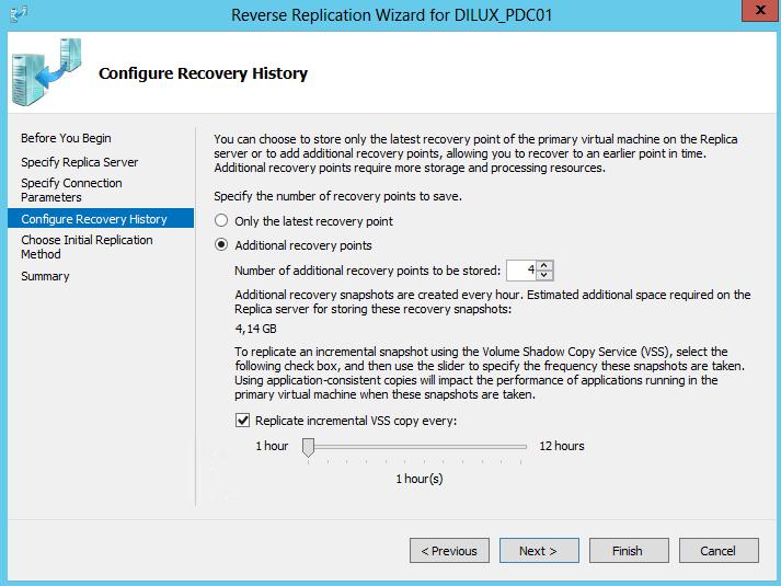 Reverse Replication en Hyper-V 3. Configuración de tiempos y puntos de recuperación