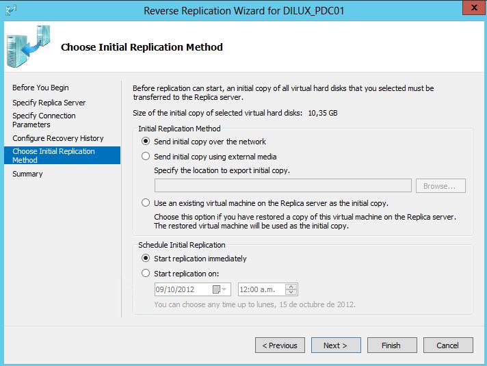 Reverse Replication en Hyper-V 3. Configuración de opciones de replicación iniciales.