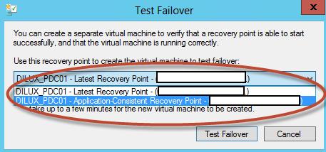Test Failover en Hyper-V 3. Selección del punto de restauración a probar.