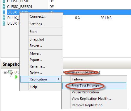 Test Failover en Hyper-V 3. Eliminación del equipo de prueba (stop test failover).