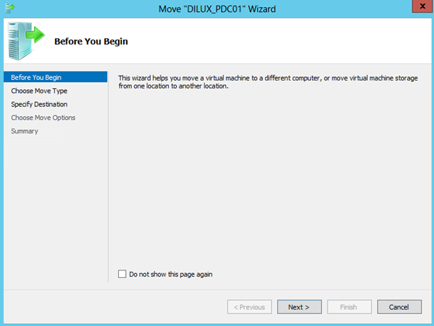 "Asistente para ""Move"" de una VM en Hyper-V 3 de Windows Server 2012."