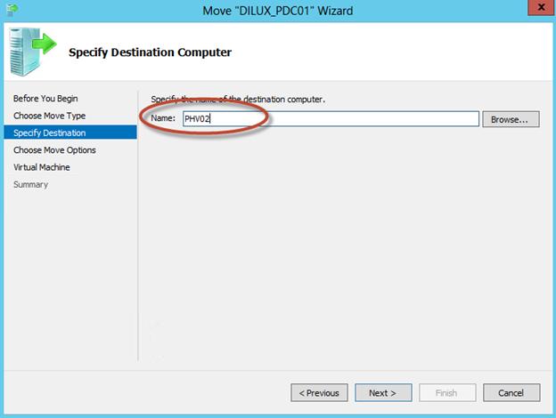 """Asistente para """"Move"""" de una VM en Hyper-V 3 de Windows Server 2012. Selección del Equipo destino."""