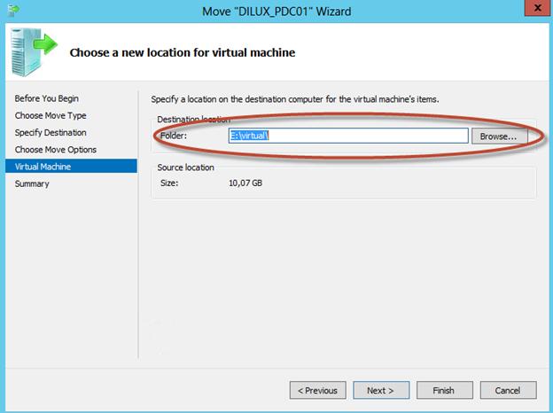 """Asistente para """"Move"""" de una VM en Hyper-V 3 de Windows Server 2012. Selección de la ubicación física en el equipo donde vamos a mover la máquina virtual."""