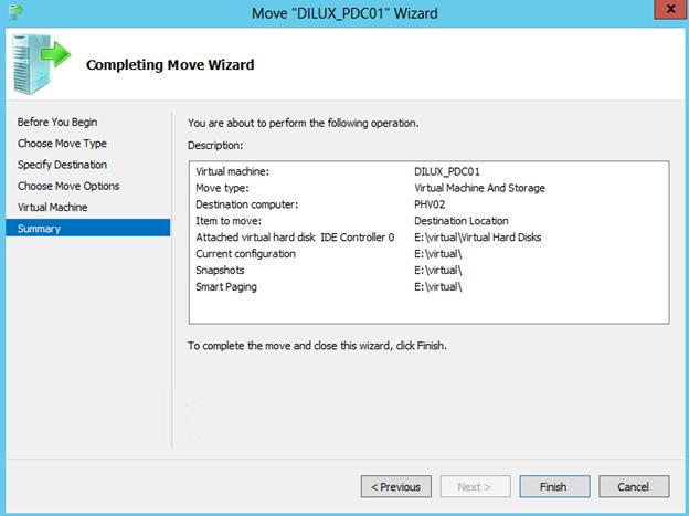 """Asistente para """"Move"""" de una VM en Hyper-V 3 de Windows Server 2012. Resumen de opciones seleccionadas."""