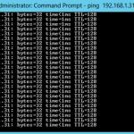 Ping de control durante el move de la VM con Hyper-V 3 Live Migration de Windows Server 2012.