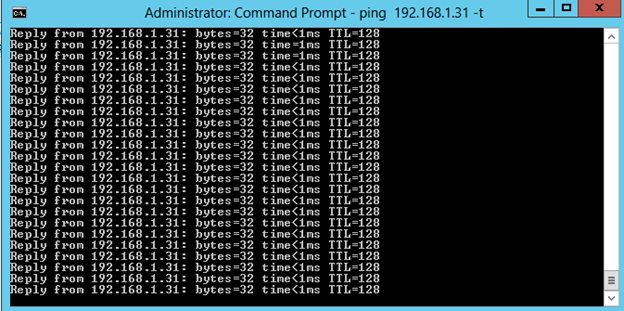Ping de control durante el move de la VM con Hyper-V 3 Live Migration de Windows Server 2012.