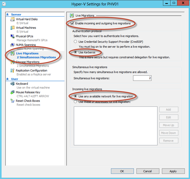 Opciones de Live Migration en Hyper-V 3 de Windows Server 2012.