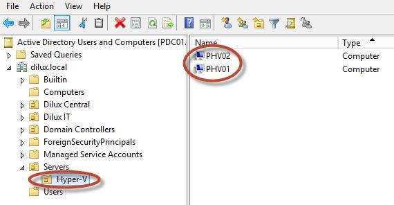 Delegación Kerberos para Live Migration de Hyper-V 3 en Windows Server 2012.
