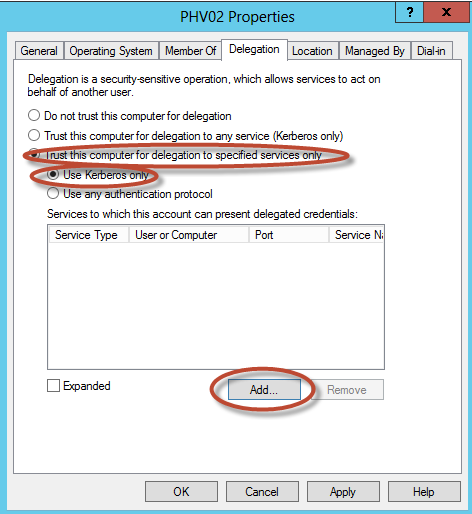 Delegación Kerberos para Live Migration de Hyper-V 3 en Windows Server 2012.
