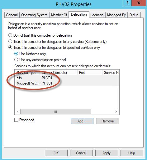 Delegación Kerberos para Live Migration de Hyper-V 3 en Windows Server 2012. Definición de Servicios.