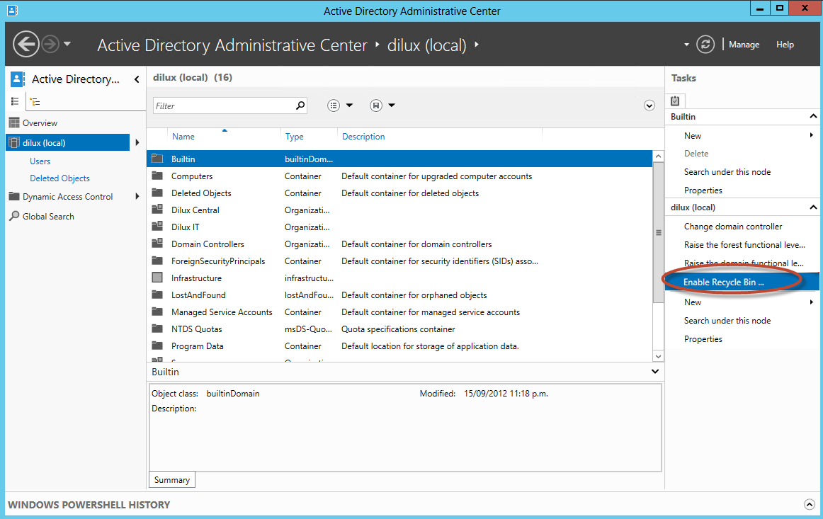 Habilitación de Papelera de Reciclaje de Active Directory en Windows Server 2012