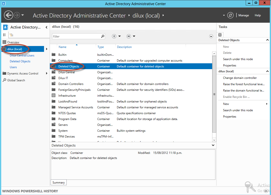 "Carpeta ""Deleted Objects"" en Active Directory"