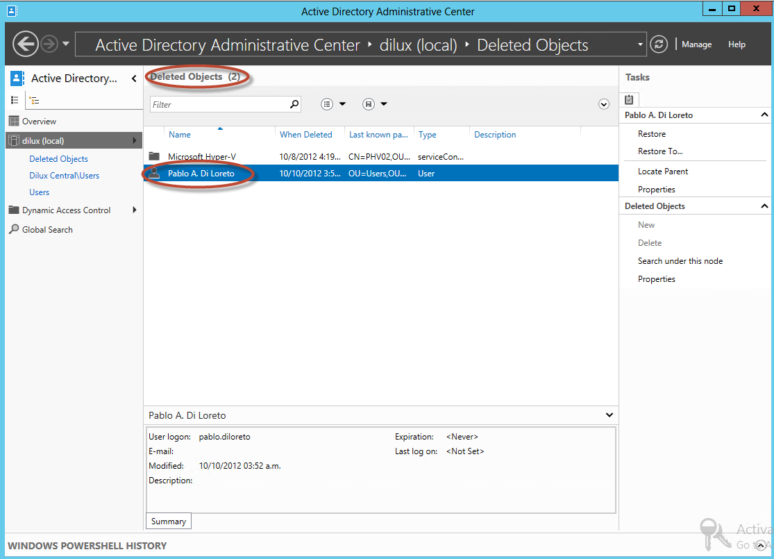 Elementos eliminados de la Papelera de Active Directory en Windows Server 2012