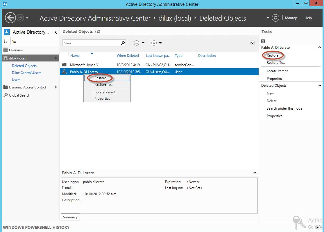 Restauración de usuario utilizando la Papelera de Active Directory en Windows Server 2012