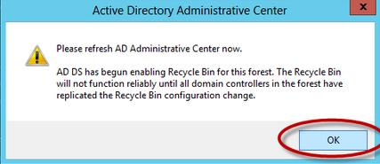 Habilitación de Papelera de Reciclaje de Active Directory en Windows Server 2012