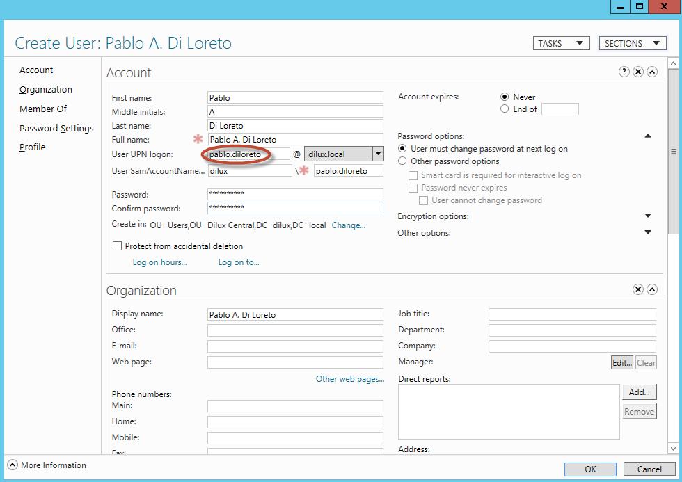 Creación de Usuario para prueba de Papelera de Reciclaje de Active Directory en Windows Server 2012